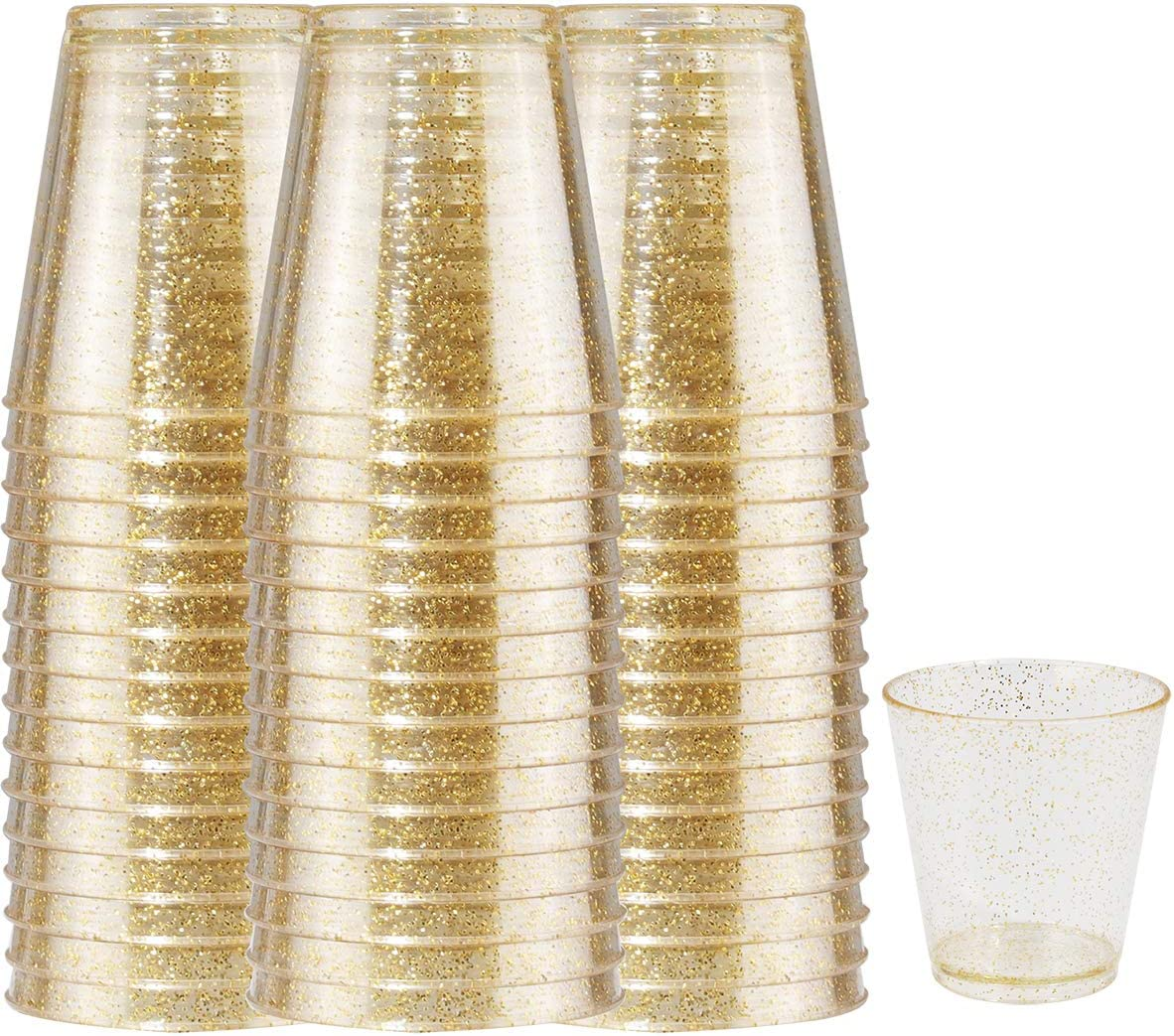 200 PACK Plastic Gold Glitter Shot Cups, 2OZ Disposable Shot Glasses,Small Hard Plastic Tumblers,Gold Tasting Sampling Cups,Premium Mini Container Perfect for Whiskey and Other Food Samples