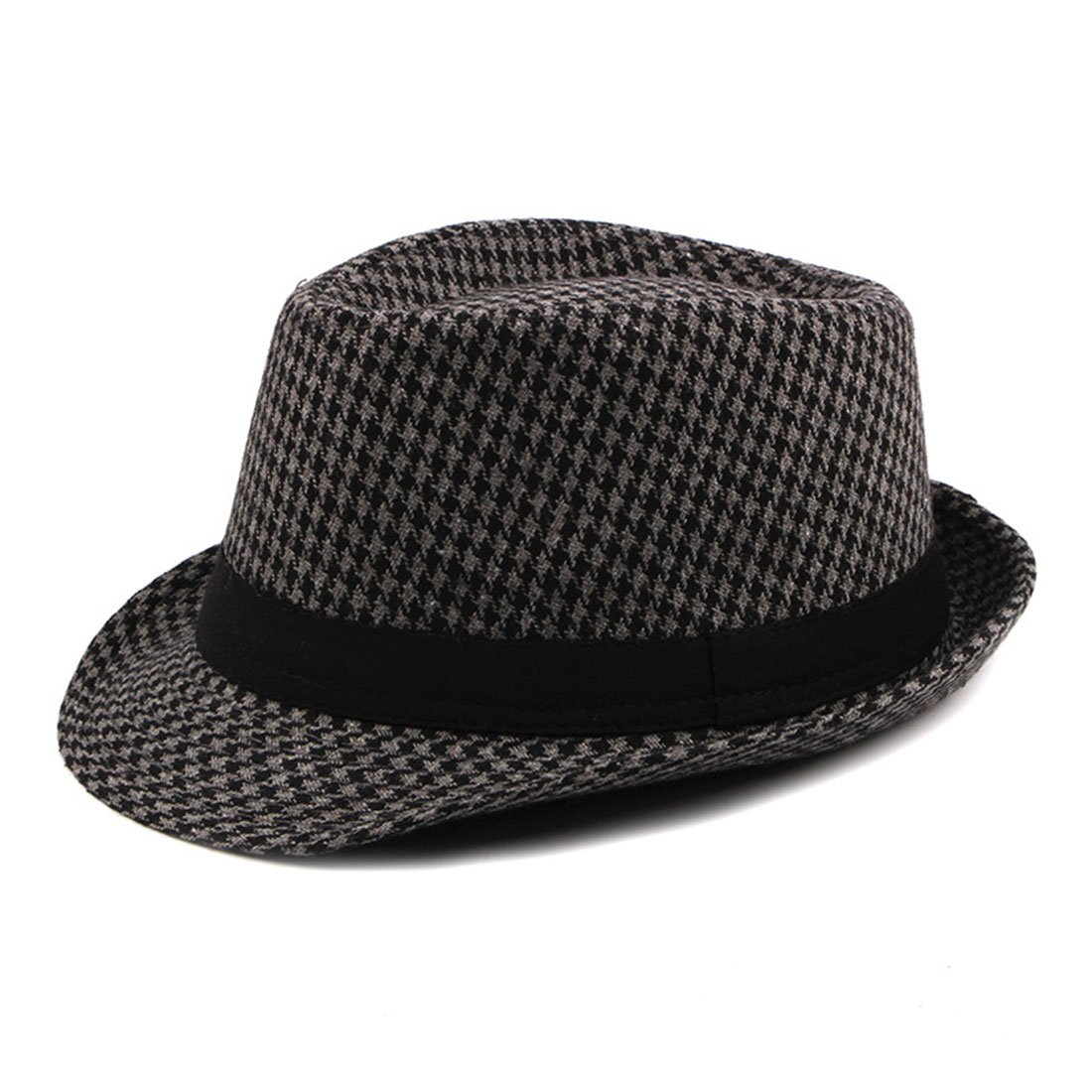 CBriskaari Houndstooth Hat Jazz Hat Gentleman Cap All-Match Hat