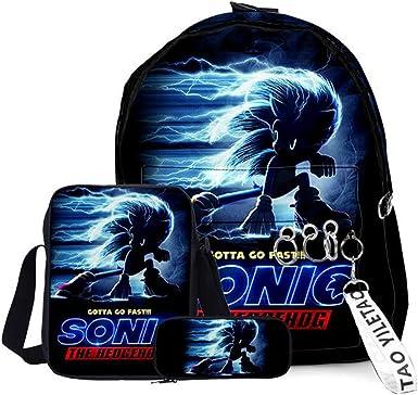 Amazon Com Sonic Backpack Shoulder Bag Pencil Case Outdoor School Backpack Set 1 One Size Kids Backpacks