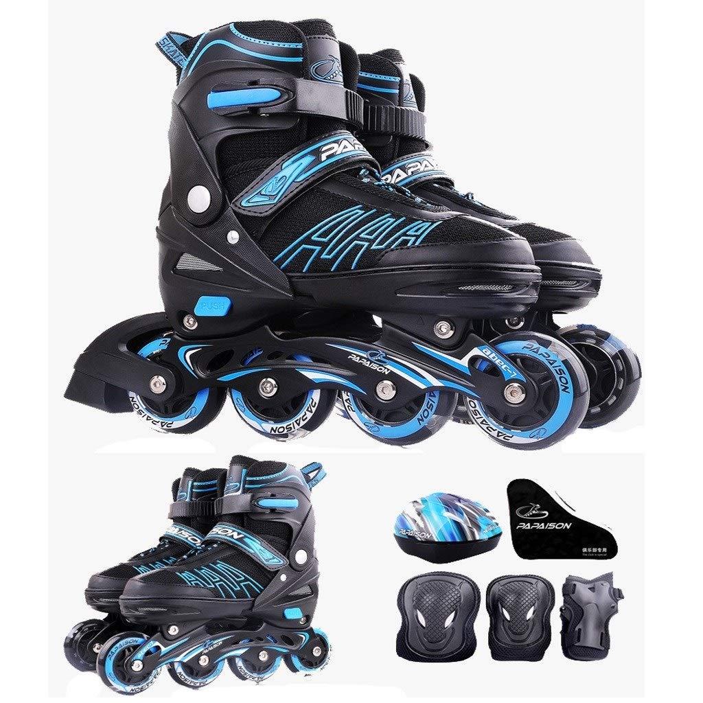 YANGXIAOYU インラインスケート、ローラースケートセット調節可能なサイズ車輪を点滅させることができる3色子供若い人たち大人のために適した B07QDSQWNL 21cm~23cm 青 青 21cm~23cm