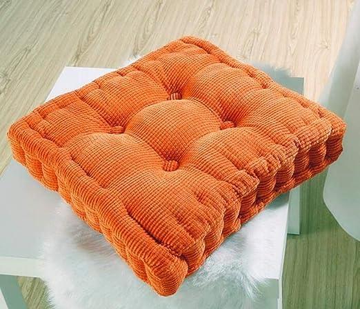 Cojines de Asiento Cuadrados Cojín de Silla de Cocina de jardín Grueso y Grueso Decoración para el hogar, Naranja