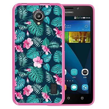WoowCase Funda para Huawei Ascend Y635, [Huawei Ascend Y635 ] Silicona Gel Flexible Flores Tropicales 2, Carcasa Case TPU Silicona - Rosa