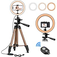 "CREUSA 10"" Selfie Ring Light with Extendable Tripod Stand & Phone Holder Dimmable Desktop LED Ringlight with Remote…"