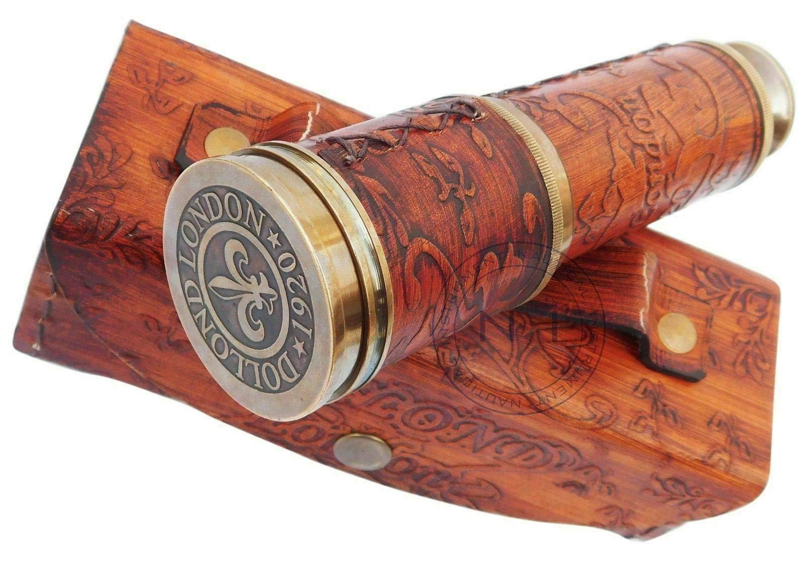 PIRU Antique-Brass-Telescope-Marine-Nautical-Leather-Pirate-Spyglass-Vintage-Scope