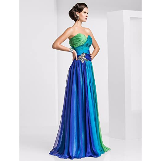 Threeseasons TS Couture Prom Formal Evening Military Ball Dress - Color Gradient A-Line Floor-Length Chiffon With Crystal at Amazon Womens Clothing store: