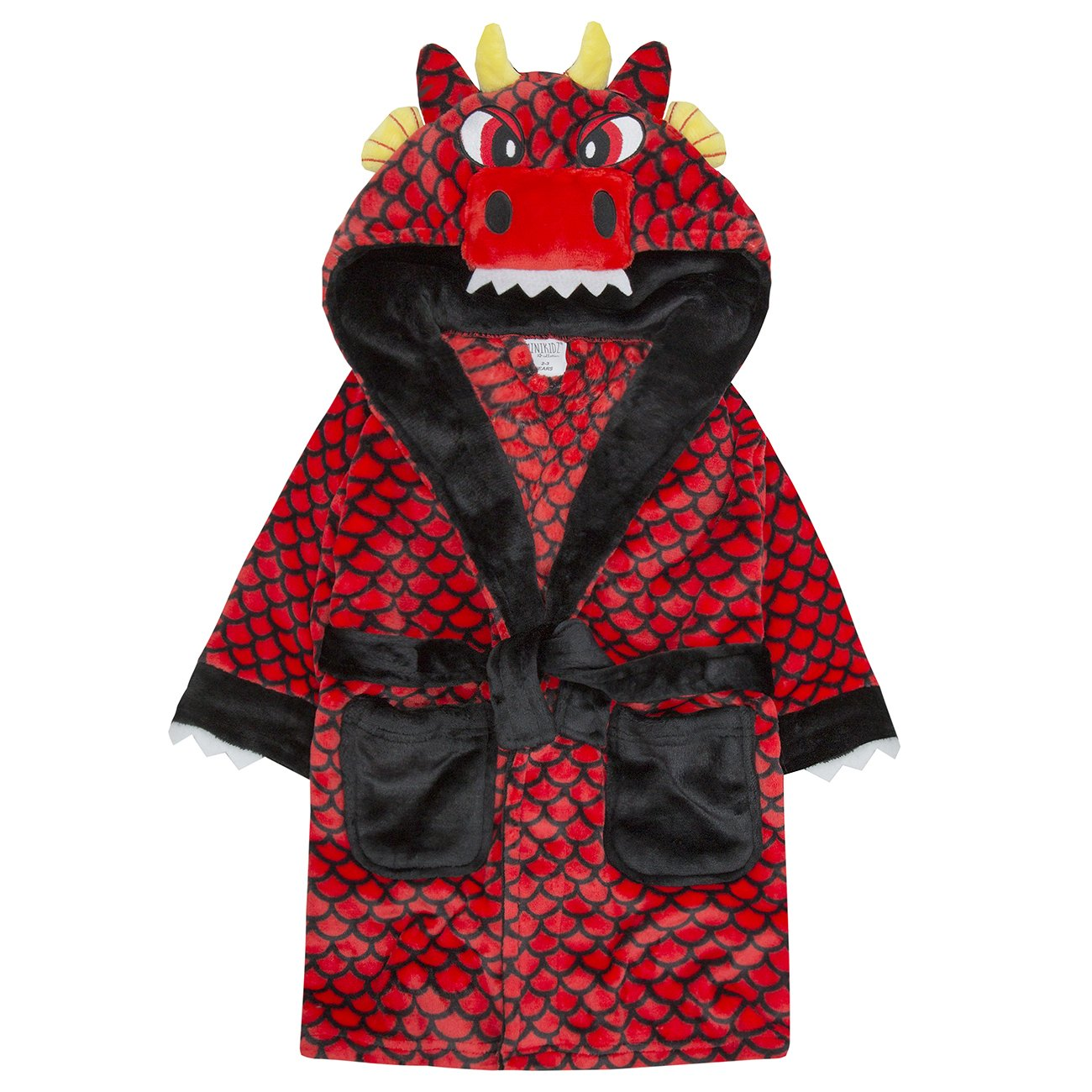 Boys Dressing Gown Hooded Bath Robe Super Soft Coral Fleece Novelty Dragon Style