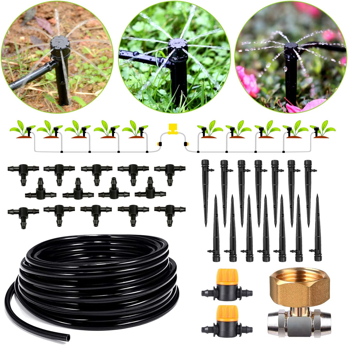 HIRALIY 45.9/14m Drip Irrigation Kits 8x5mm Blank Distribution Tubing Plant Watering System DIY Saving Water Automatic Irrigation Equipment Set for Patio Lawn Garden Greenhouse Flower Bed