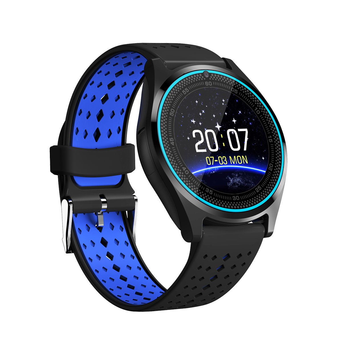 Kooman Smart Watch - Bluetooth Smartwatch Touch Screen Wrist Watch Sports Fitness Tracker with Camera SIM SD Card Slot Pedometer Compatible iPhone iOS ...