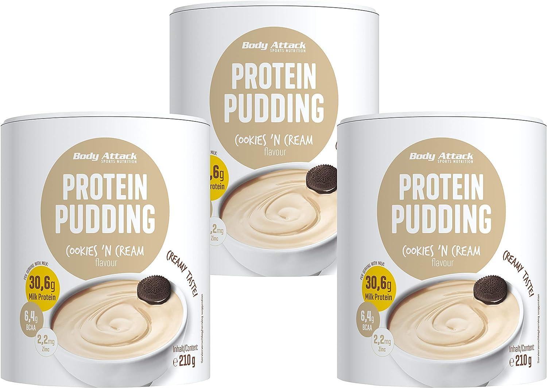 Body Attack budín de proteínas sin cocinar, 3x210g, Galletas y crema, budín en polvo rico en proteínas, sin aspartamo