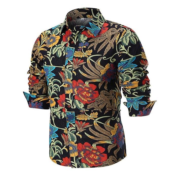 ZARLLE Camisa Casual Hombre Manga Larga De Vestir Color Contraste De Moda Camisetas Hombre Originales Manga Larga Color De Hechizo Estampado Polos Basicas ...