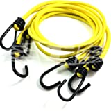 Pack of 6, 6mm LUGGAGE ELASTICS BUNGEE STRAPS SHOCK CORD METAL SPIRAL HOOK ENDS ARMY, (YELLOW - 2 Metres LENGTH)