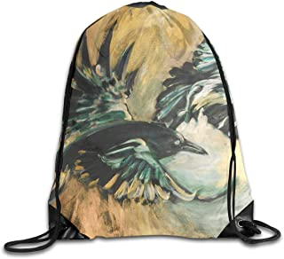 Liumiang Sacs à Dos,Sacs de Sport,Sacs à Cordon, Eco-Friendly Pirnt Tow Birds Fly Paiting Exotic Drawstring Bag for Traveling Or Shopping Casual Daypacks School Bags
