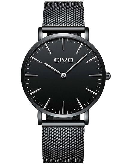 CIVO Unisex para Hombre Reloj para Mujer Ultra Thin Minimalista Moda de Lujo Relojes con Negro