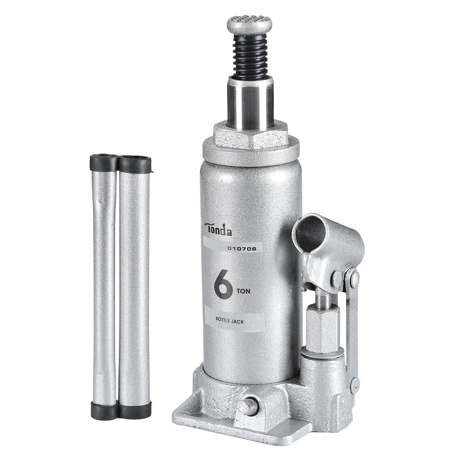 TONDA Hydraulic Bottle Jack Silver, 6 TON Heavy Duty