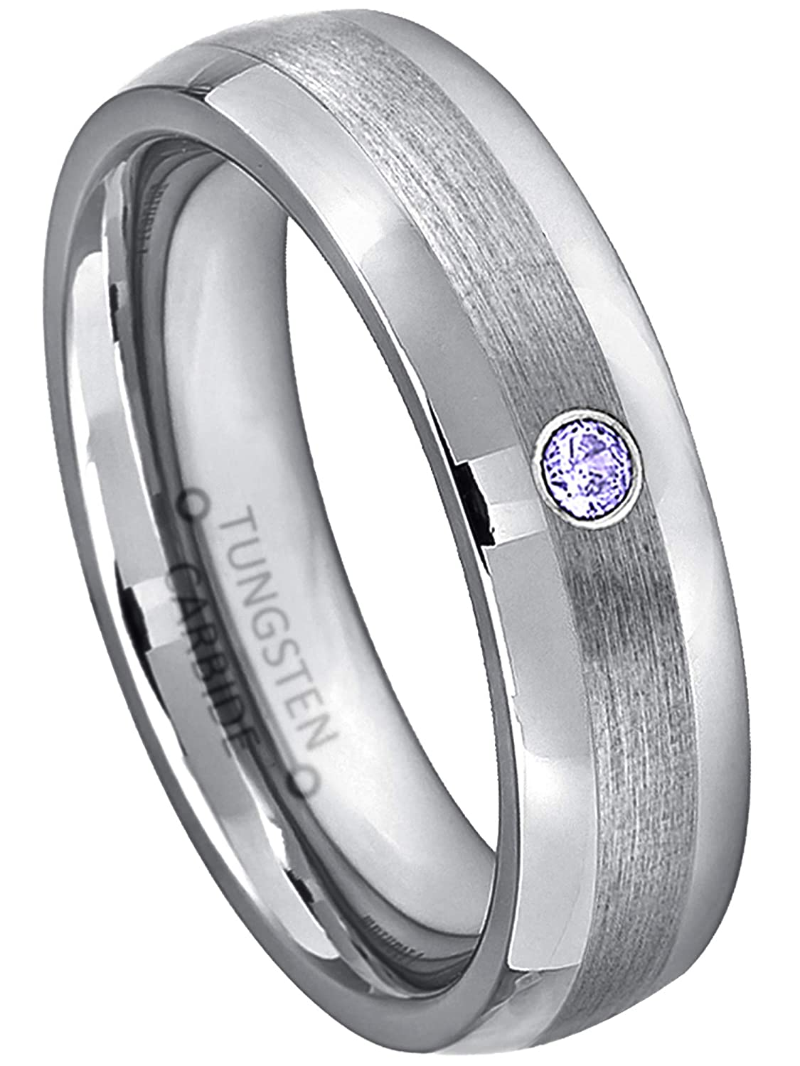 Jewelry Avalanche 0.07ct Tanzanite Tungsten Ring 6MM Brushed Center Comfort Fit Dome Tungsten Carbide Wedding Band December Birthstone Ring