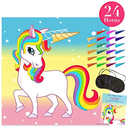 image relating to Pin the Horn on the Unicorn Printable identified as Pin The Horn upon The Unicorn Get together Activity - Get together Resources for Youngsters Entertaining Rainbow Birthday (24 Stickers) - Order as a Present or Wall Decoration for Your Baby