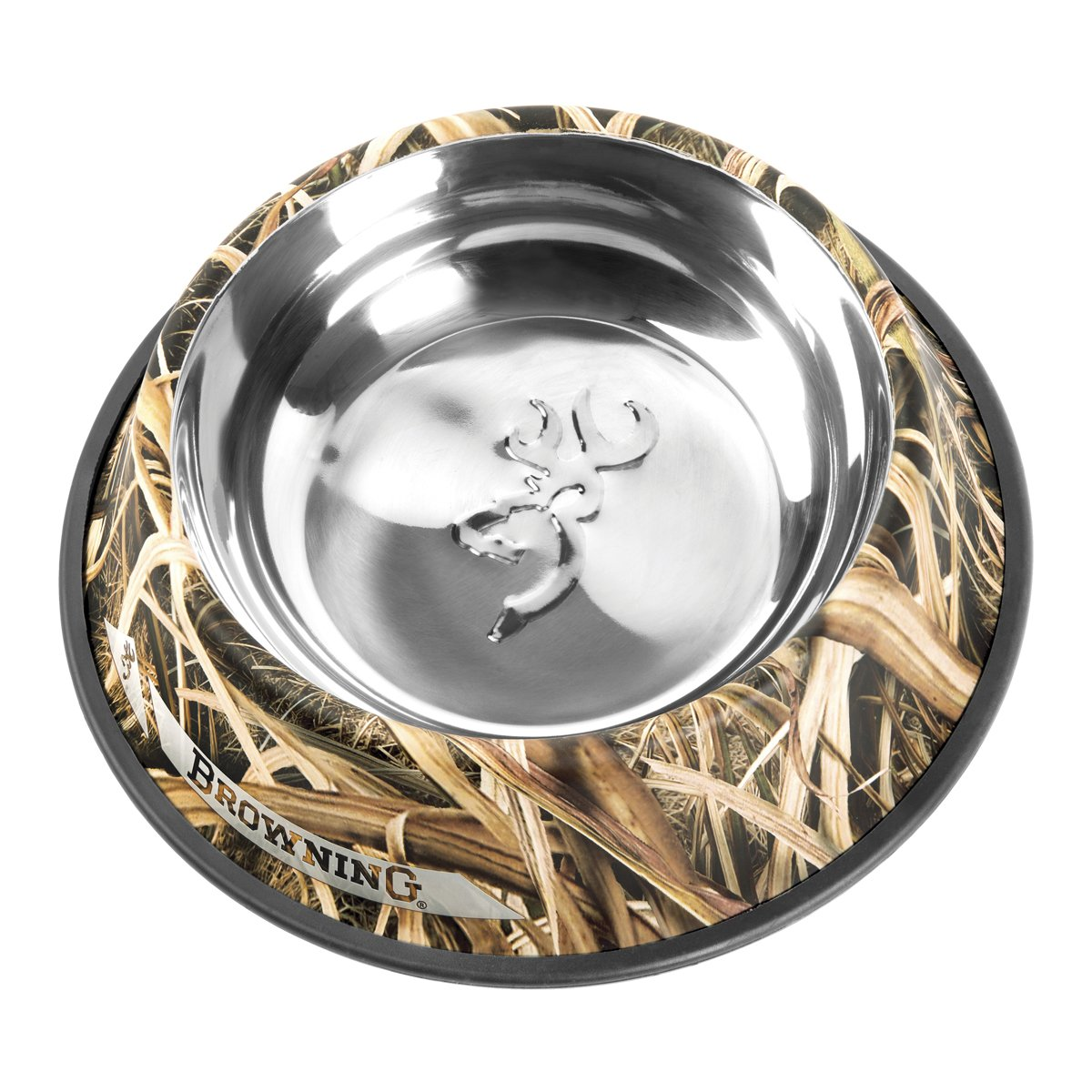 Browning Stainless Steel Pet Dish, Large, Shadow Grass Blades by Browning