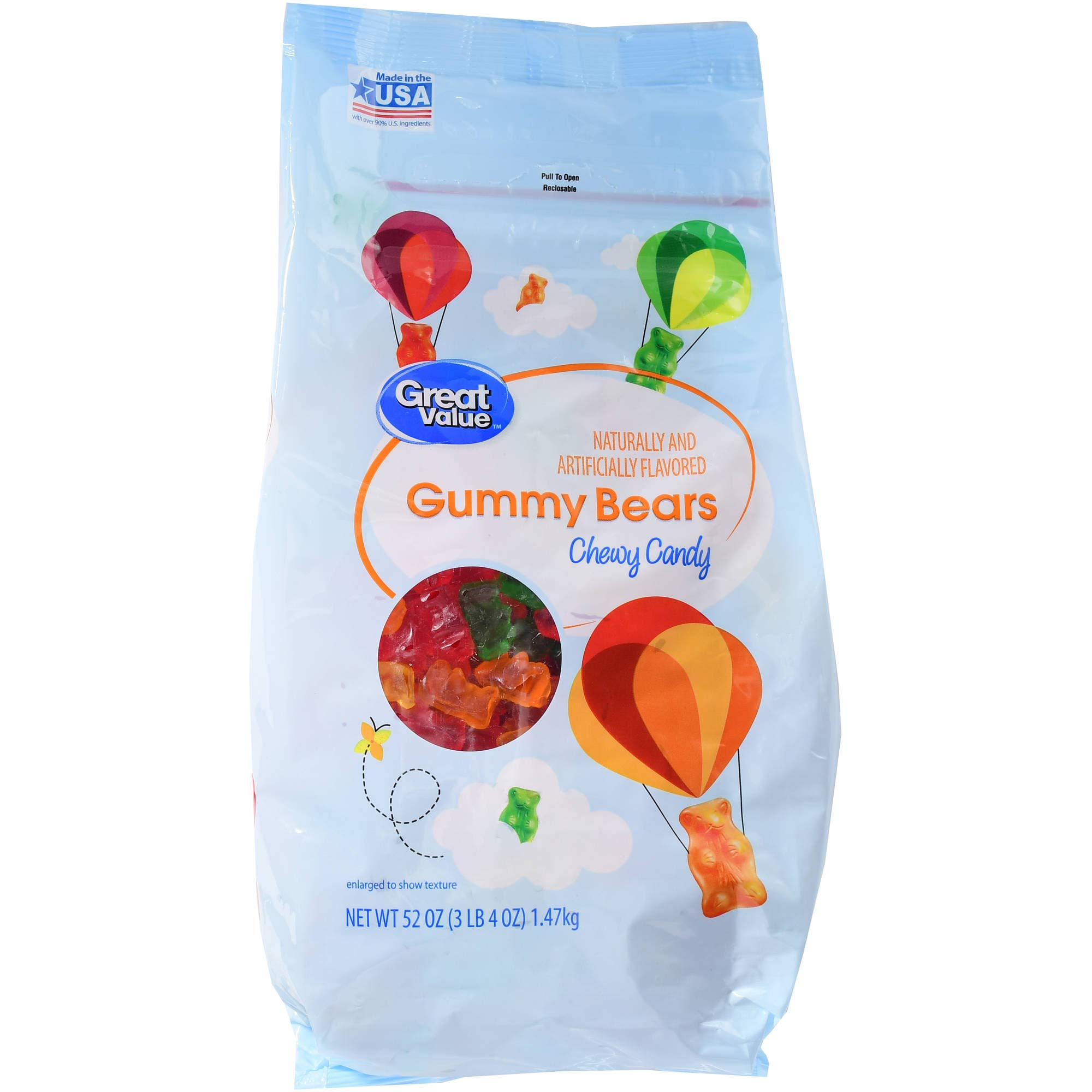Great Value Gummy Bears Chewy Candy, 52 oz (Pack of 1)