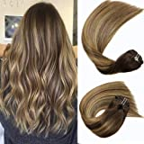 Honsoo 14inch 120grams Clip In Hair Clip on Hair Extensions Balayage Color Rooted Chocolate Brown #4/4/27 Remy Pure…