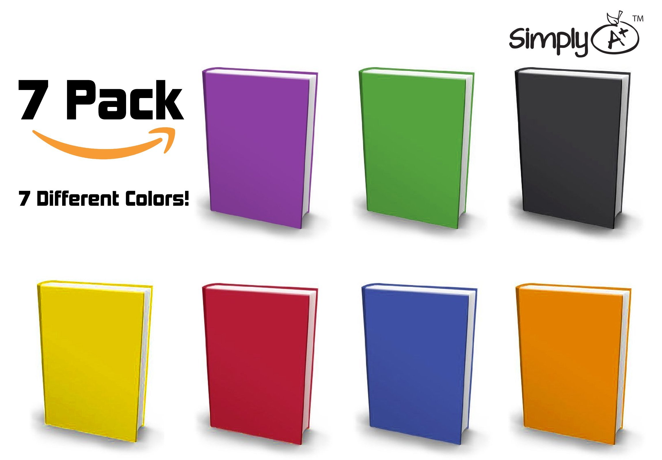 Simply A+ Stretchable Book Covers - Jumbo Stretchy Fabric Book Socks for Hardcover Textbooks, Schoolbooks - 7 Color Variety Pack
