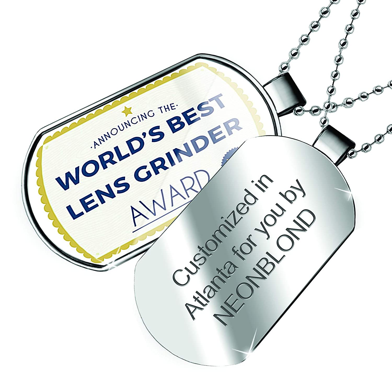 NEONBLOND Personalized Name Engraved Worlds Best Lens Grinder Certificate Award Dogtag Necklace