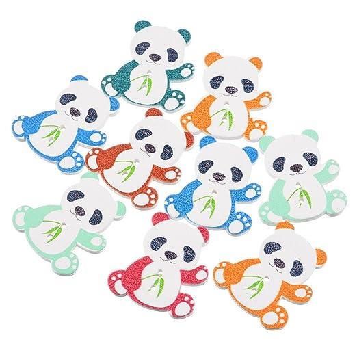 Souarts Panda Form Holzknopf 2 Löcher Knöpfe für Basteln und Nähen ...