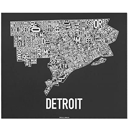 Amazon.com: Ork Posters Detroit Neighborhoods Map Art Screen Print on