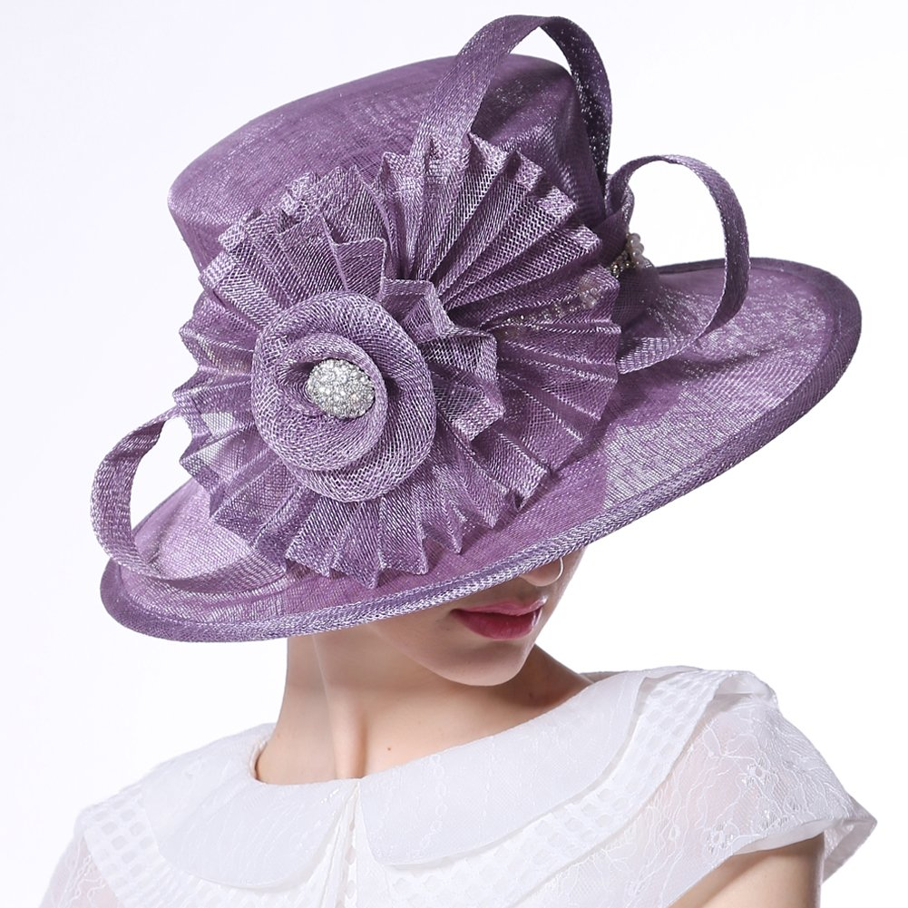 June's Young Women Hat Big Flower Summer Hat Sinamay Wide Brim(Purple) by June's Young (Image #2)