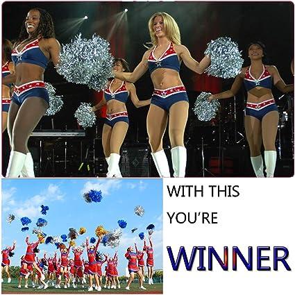 Qpower 24PCS Cheerleading Poms Squad Spirited Fun Cheering Metallic Foil Plastic