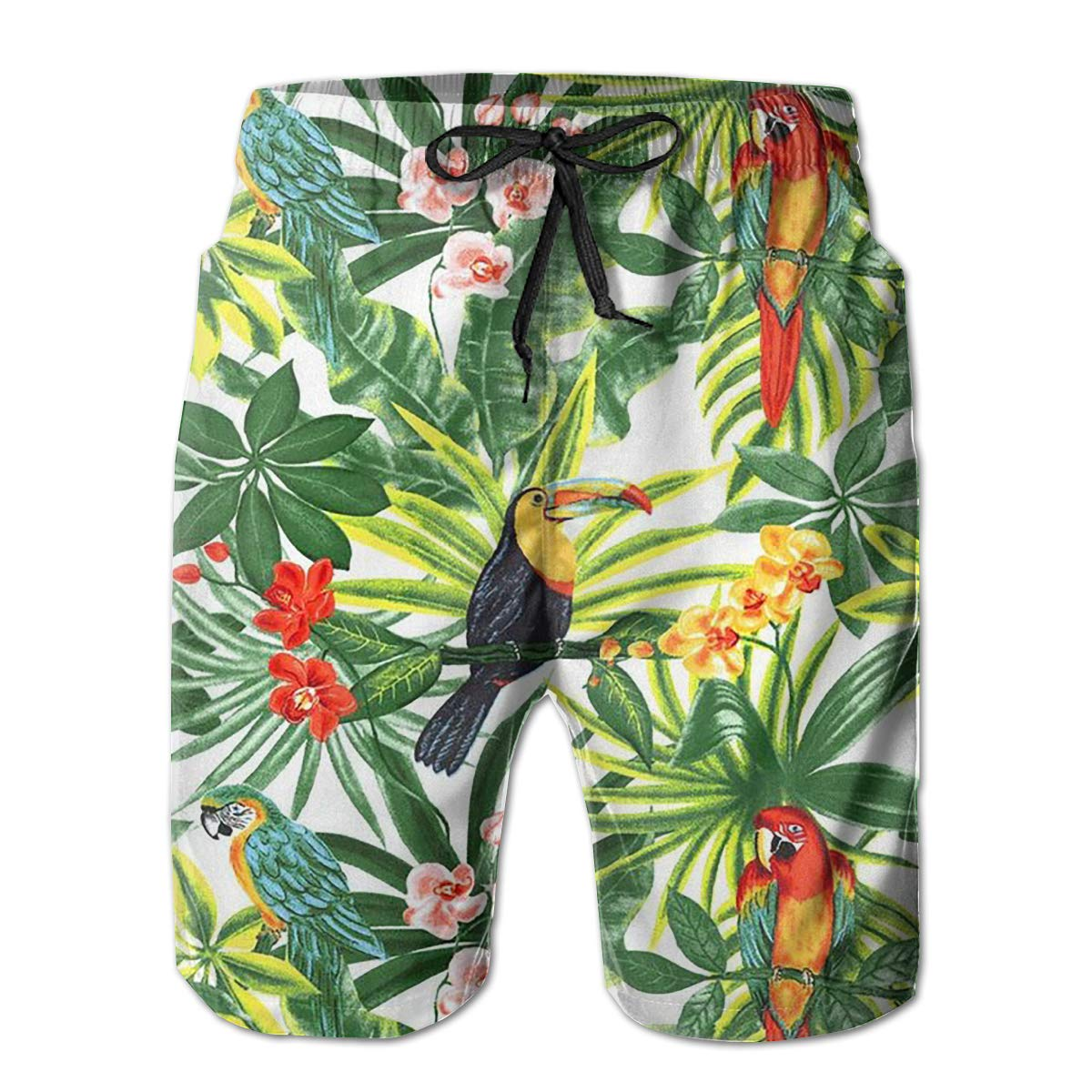 Beautiful Parrot Mens Board Shorts Swim Mesh Lining and Side Pocket