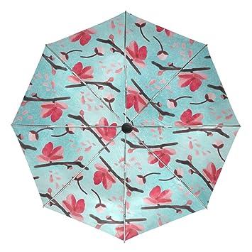Bennigiry Paraguas Antiguo Artistico Cerezo Blossom UV Antiligero Sombrilla Elegante Reverso 3 Plegable Gota Resistente Paraguas
