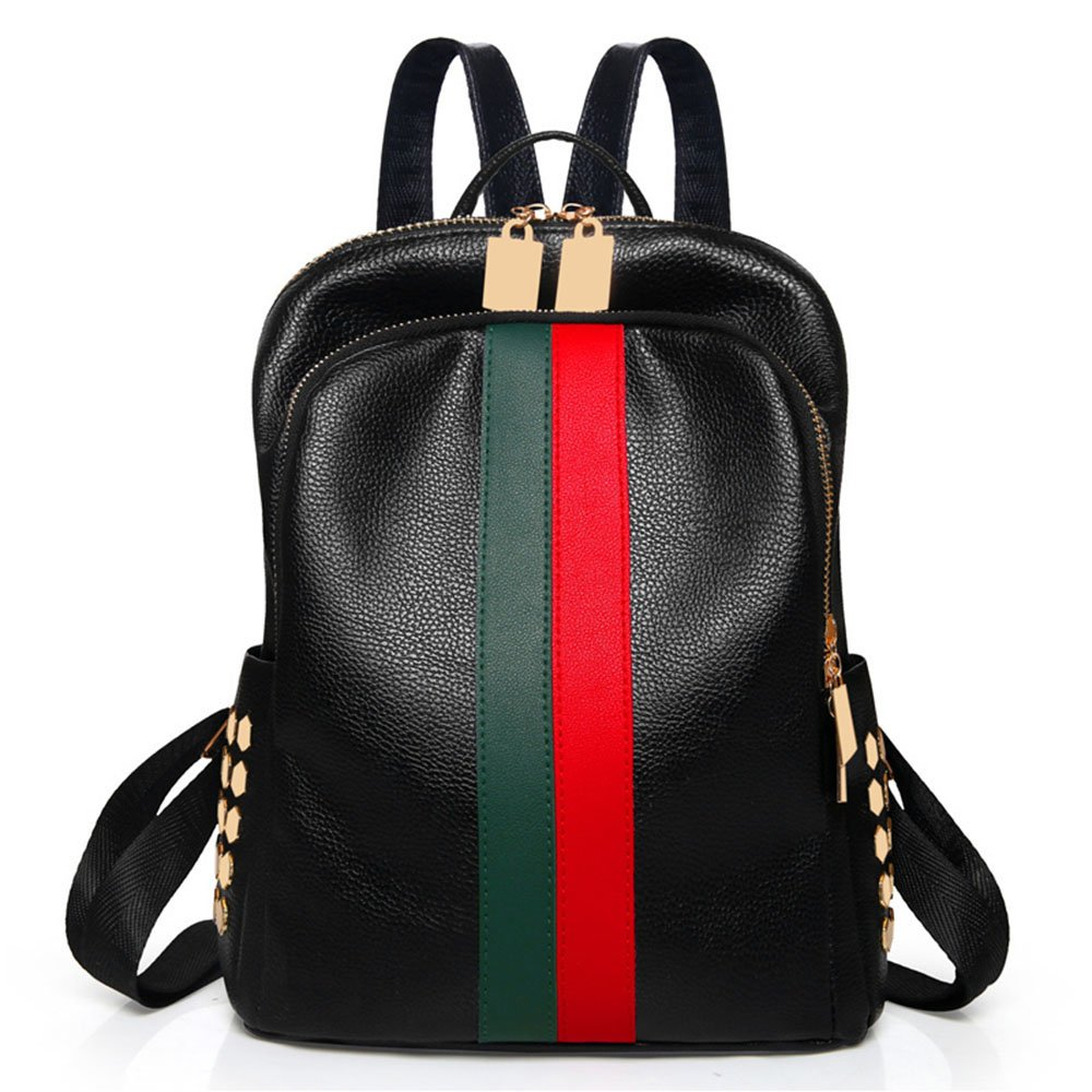 Mini Cute Backpack Leparvi Girly Leather Day Packing Teen Satchel Luxury Designer Women Tote Bag Ladies Work Rucksack(Red-green)