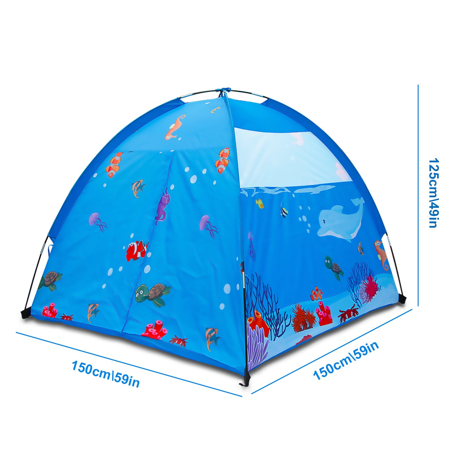Homfu Play Tent For Kids Dome Style Playhouse For Children Indoor Outdoor Toy Ocean Sea World Pattern Boys and Girls Beach Tent (Blue)