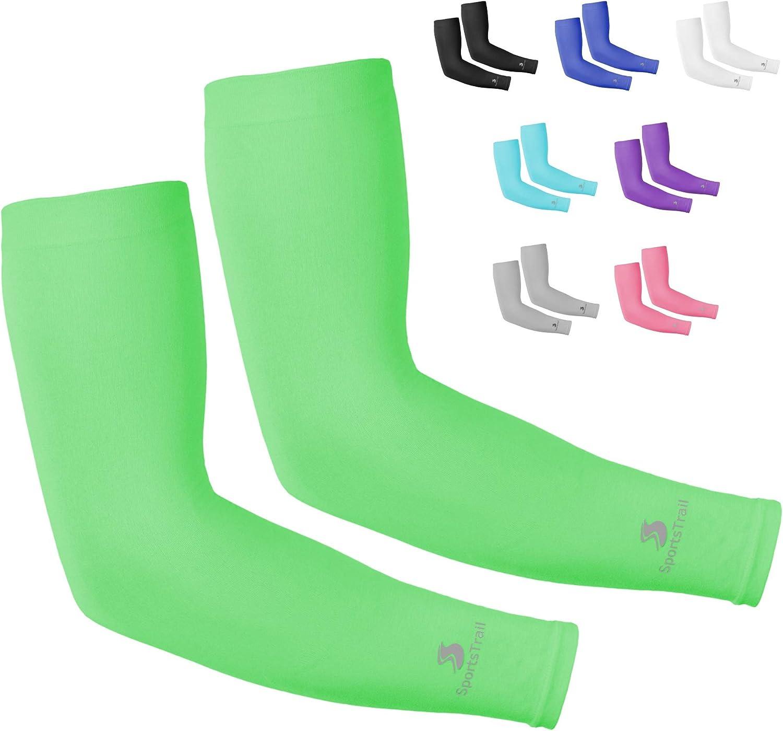 SportsTrail Cooling Arm Sleeves for Men & Women, UV Protective UPF 50 Long Sun Sleeves, Tattoo Cover up Sleeves to Cover Arms, Cooling Clothing, Cycling Golf Running Driving