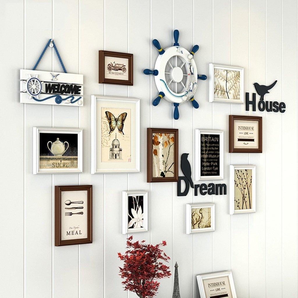 ZYANZ Creative Personality Photo Wall, Rectangular Wood (11 Packs) Rudder (1), Number Plate (1)