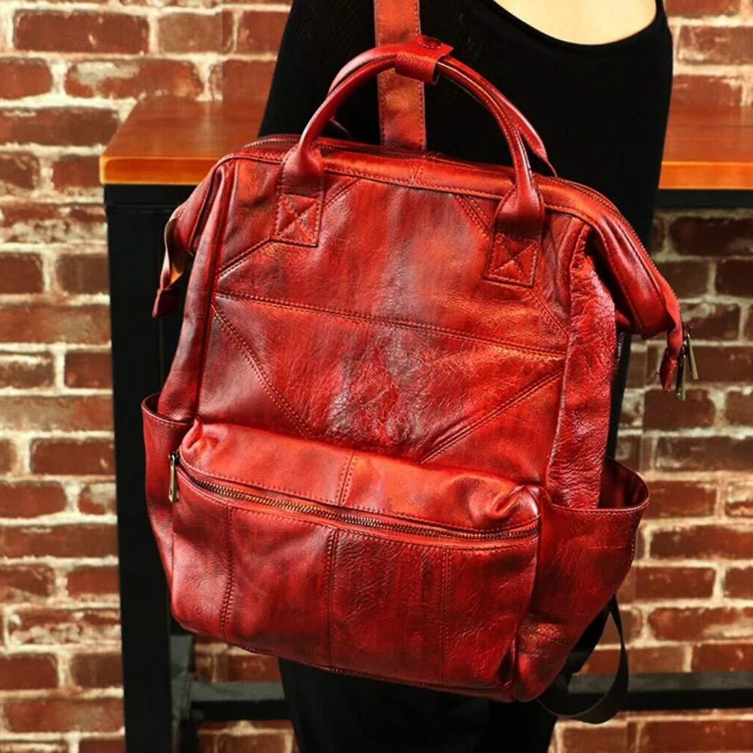 Vergeania 本革のバックパック牛革バックパック高校生の女の子軽量大容量バッグメッセンジャーバッグ (色 : レッド) B07S1D9H5H レッド