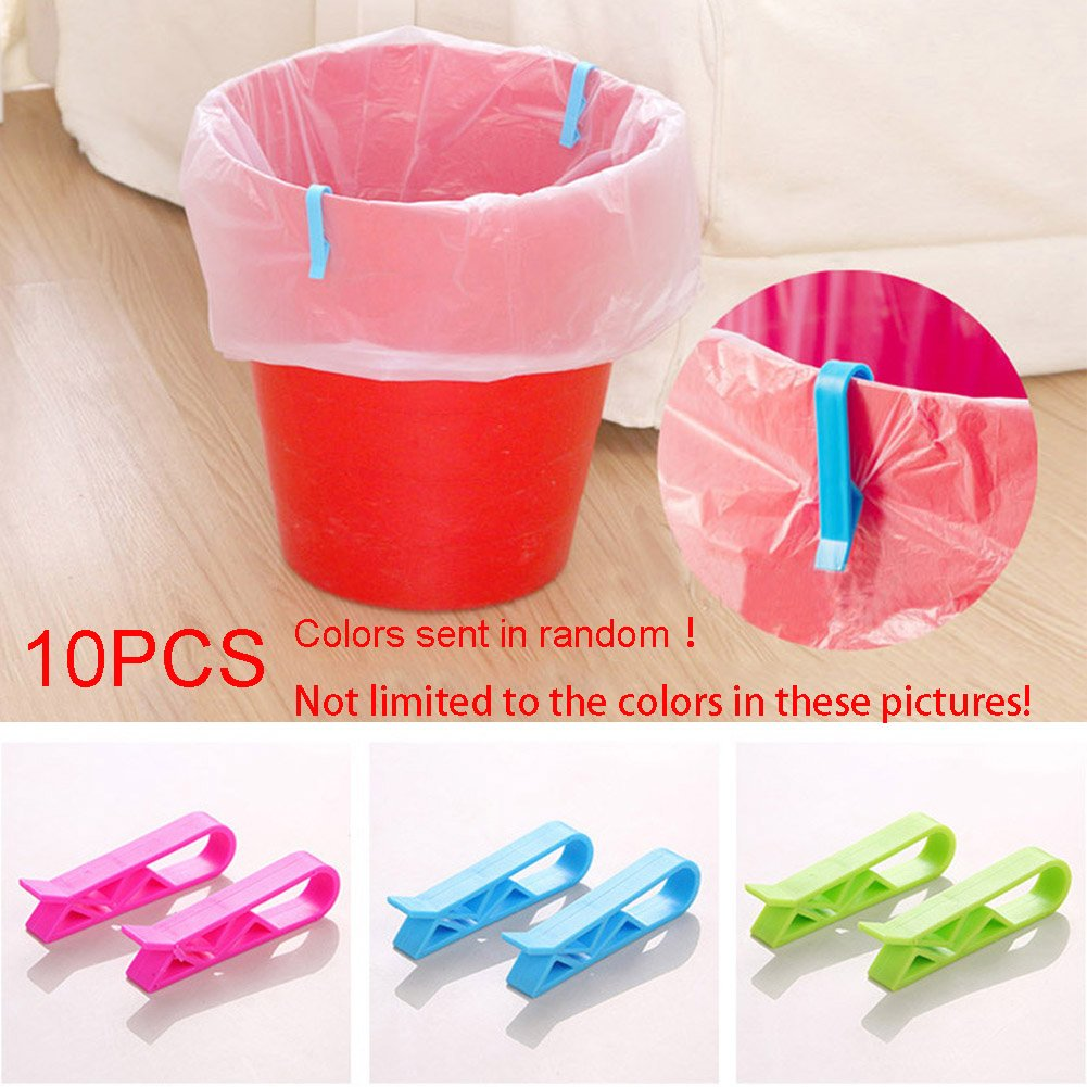 Garbage Bin Clip, 10PCS Trash Can Waste Basket Garbage Bin Clamp, Anti-Slip Fixation Clip Holder, Garbage Rubbish Bag Clip(Random Color) Carole4