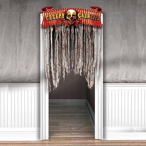 NET TOYS Décoration d\'Entrée Halloween Rideau de Porte Horreur Fête ...