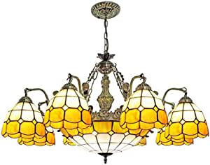 Multi-Head Yellow Mediterranean Chandelier Tiffany Style Hanging Lamp Retro Stained Glass Pendant Lighting Fixture for Living Room Bedroom Dining Room Decoration, 110-240V,8 Head