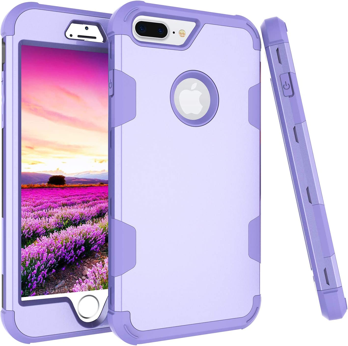 Asuwish Compatible with iPhone 7plus 8plus 7/8 Plus Case Slim Hybrid Shockproof Silicone Heavy Duty Hard Cell Accessories Phone Cases for i Phone7s 7s + 7+ 8s 8+ iphone7pluscases iphone8splus Purple