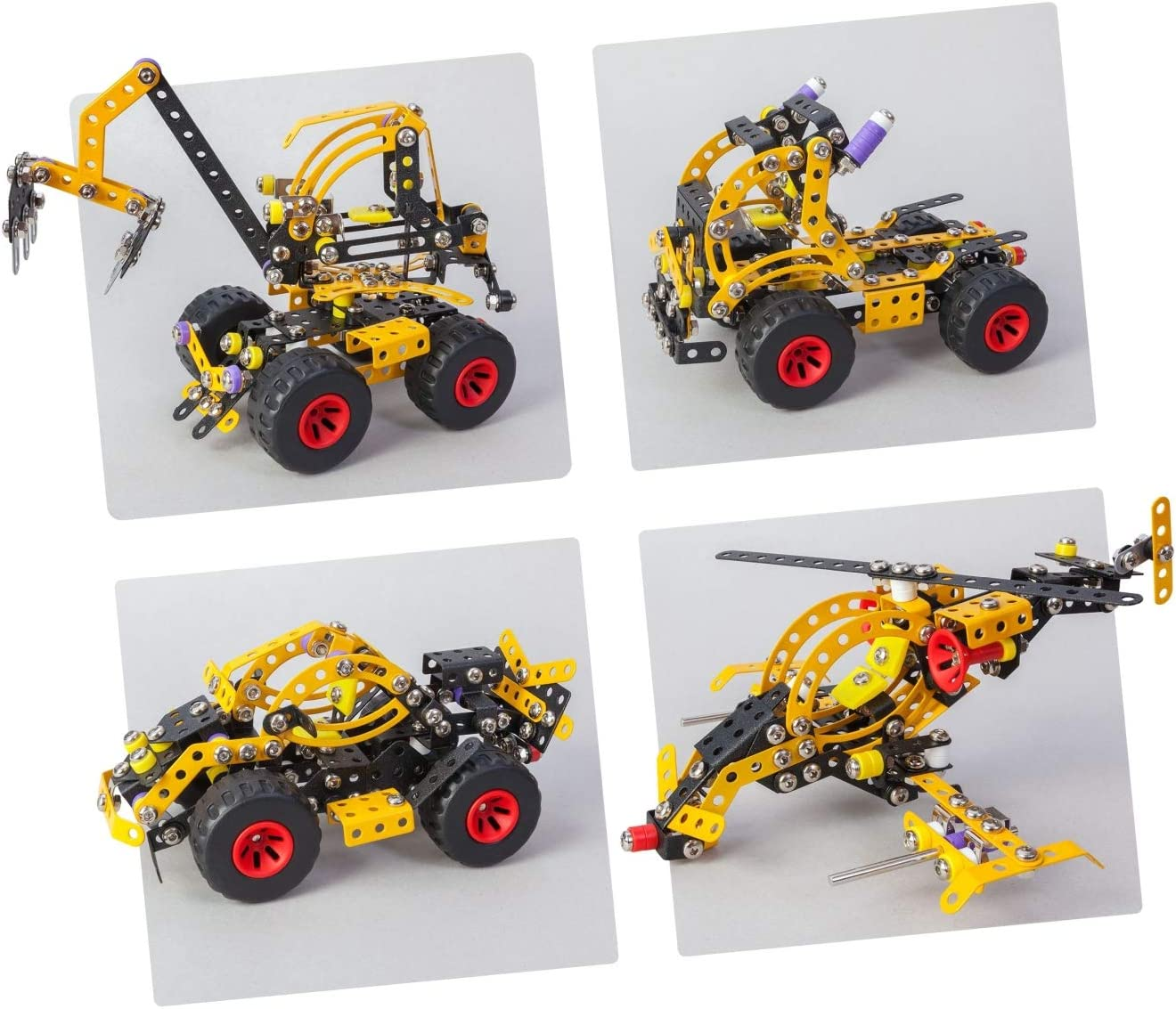Alexander Toys PRO Noah 5 in 1 Backhoe Loader Pure Metal Construction Model Building Kits Fully Compatible with Erector and All Other Metal Construction Sets and STEM Toys