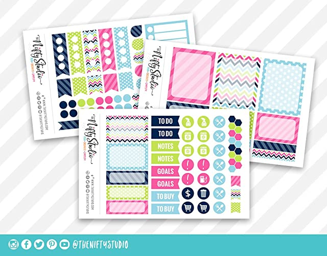 Amazon.com: Weekly Planning Stickers | Navy Blue, Pink ...