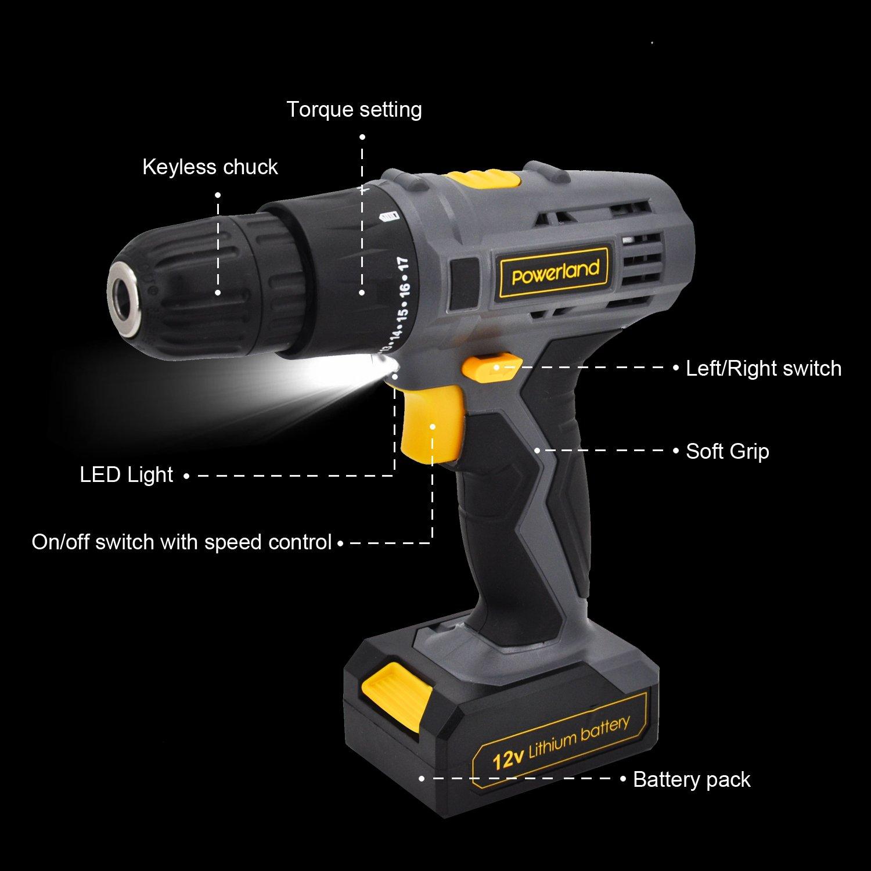 Powerland Perceuse-Visseuse Expert sans fil 12 V Li with batteries technologie Tournevis Puissant Jaune et Gris Avec Arrêt rapide