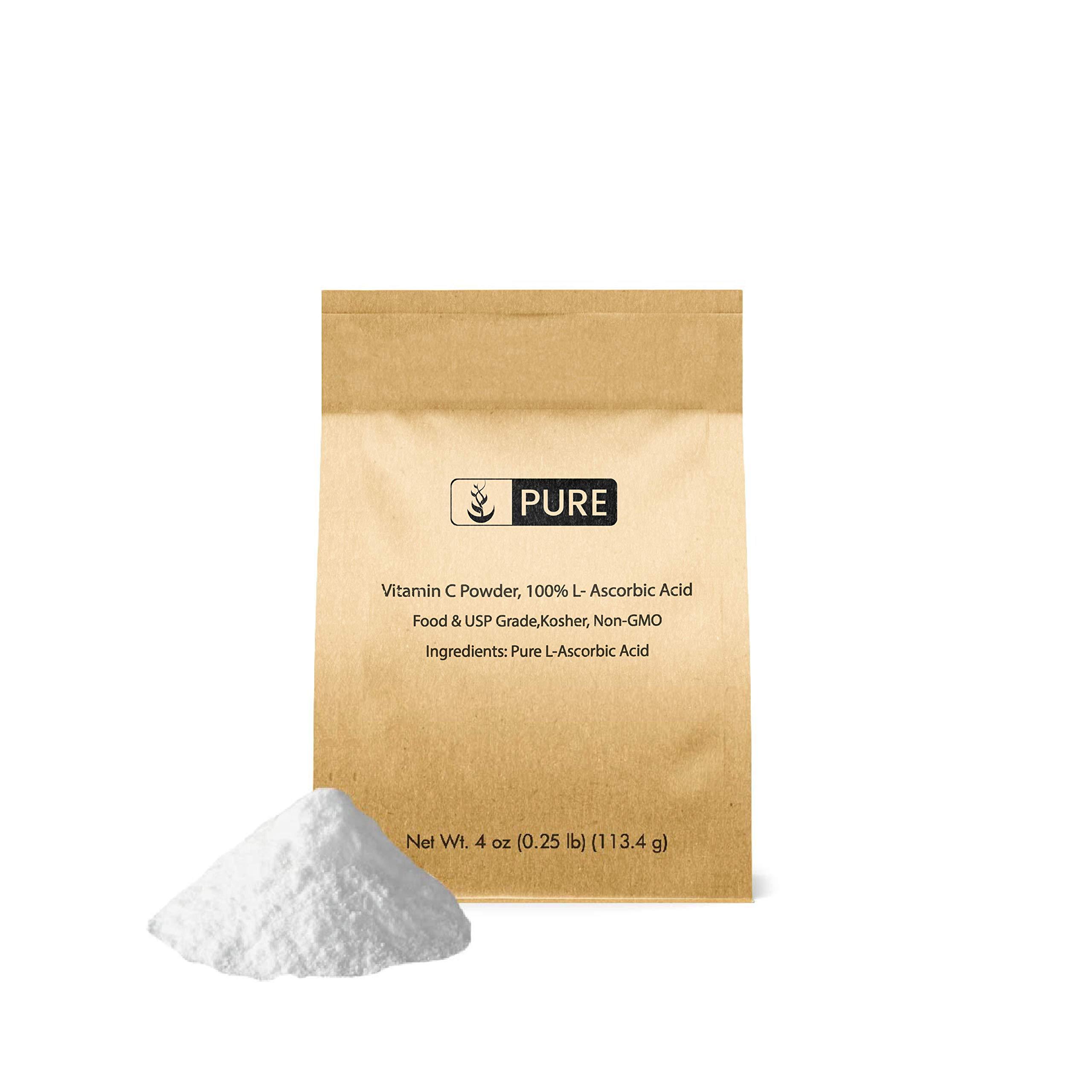 Pure Vitamin C Powder (4 oz.), Eco-Friendly Packaging, L-Ascorbic Acid, Antioxidant, Boost Immune System, DIY Skin Care