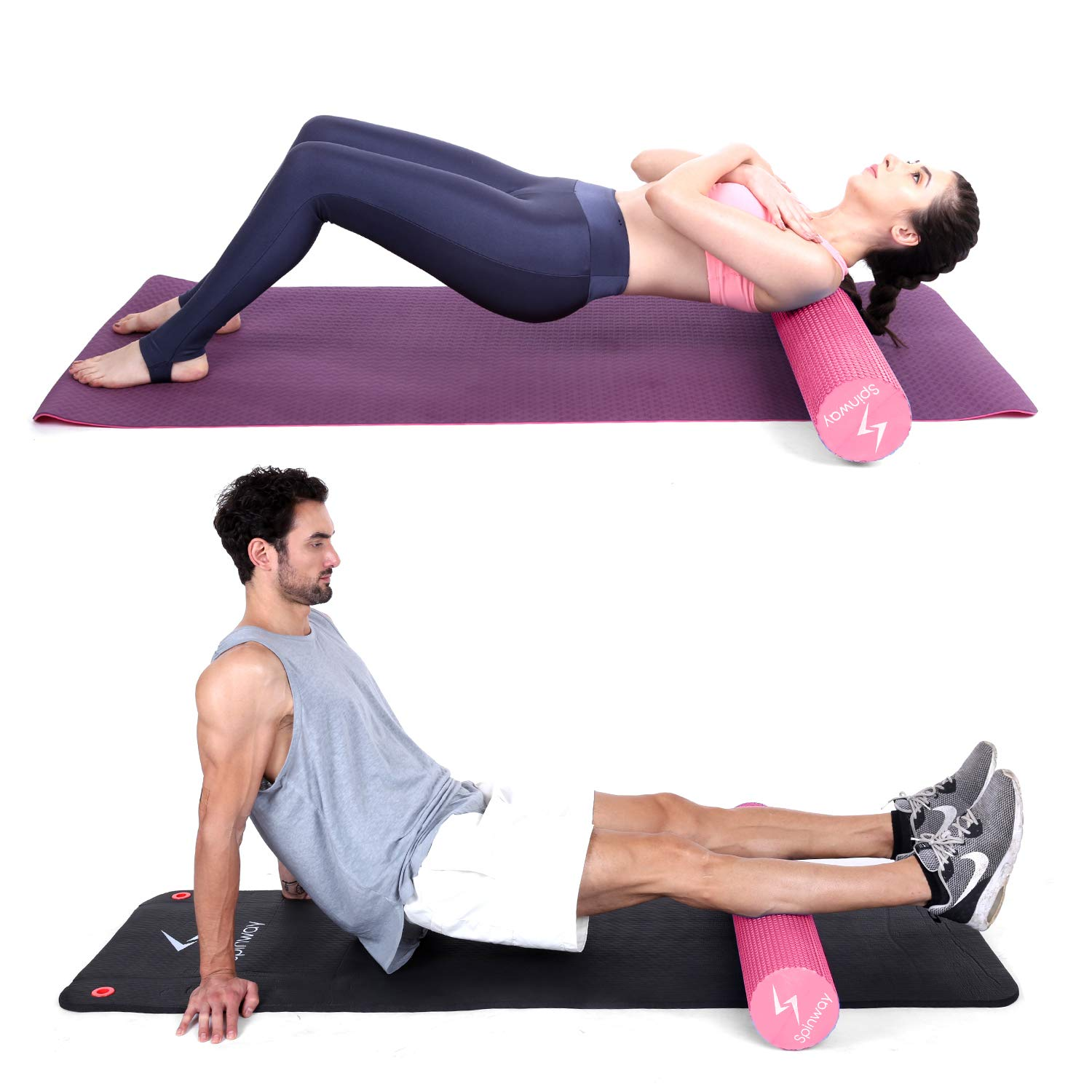 spinway Yoga Foam Roller Speckled Foam Rollers for Muscles Extra Firm High Density for Physical Therapy Exercise Deep Tissue Muscle Massage (Pink) by spinway (Image #5)