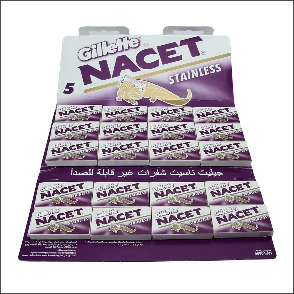 100 NACET STAINLESS Double Edge Razor Blades