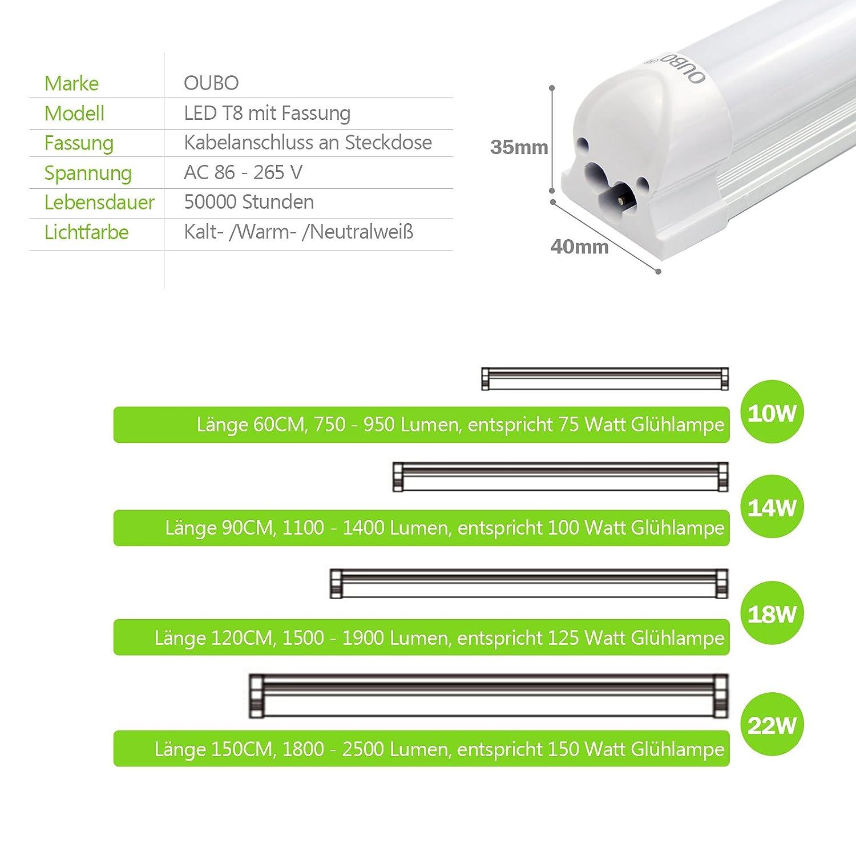 [PRO] [10er Pack zum Sparpreis] OUBO LED Leuchtstoffröhre komplett komplett komplett 120CM LED Tube T8 Röhre Leuchtstofflampe mit Fassung, 18 Watt, 1950 Lumen, Warmweiß 3000K e14eb4