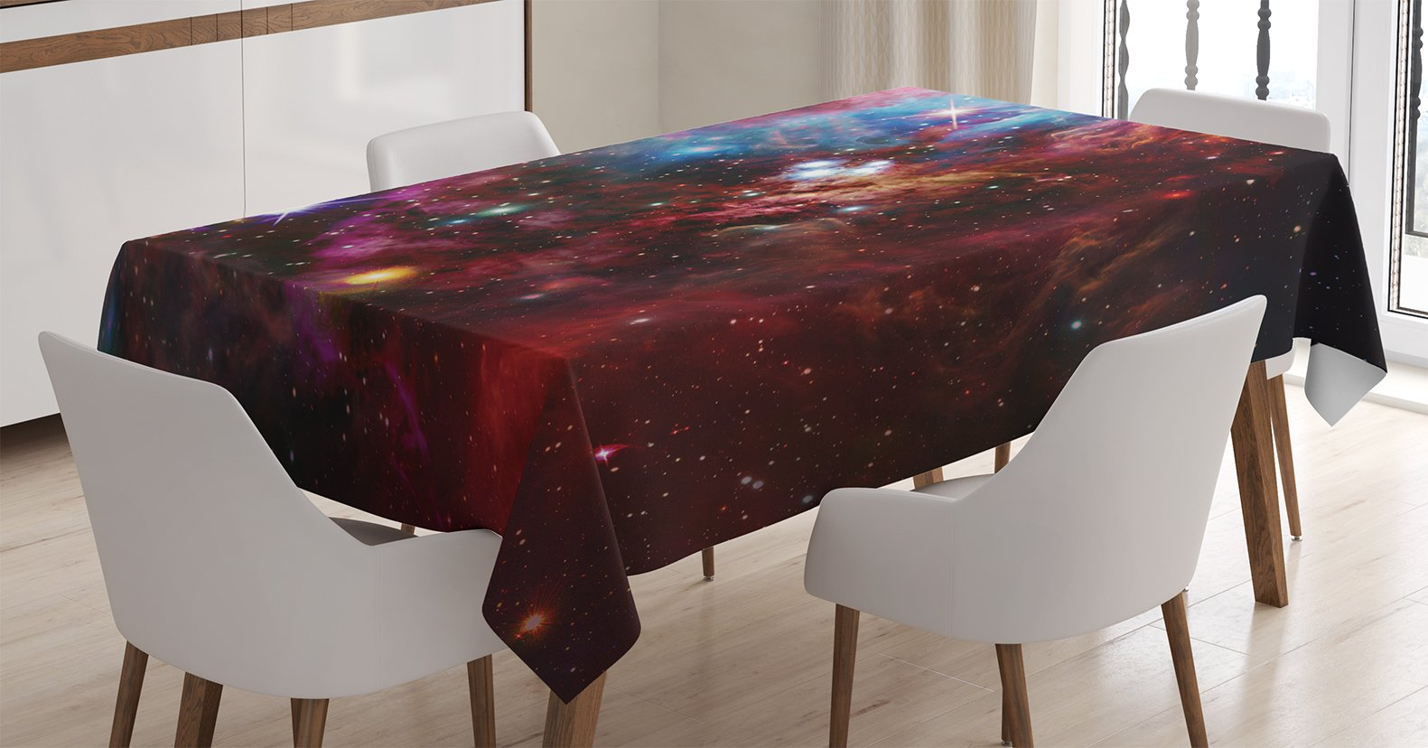 Ambesonne Space Decorations Tablecloth, Space Nebula with Star Cluster in the Cosmos Universe Galaxy Solar Celestial Zone, Rectangular Table Cover for Dining Room Kitchen, 60x84 Inches, Teal Red Pink