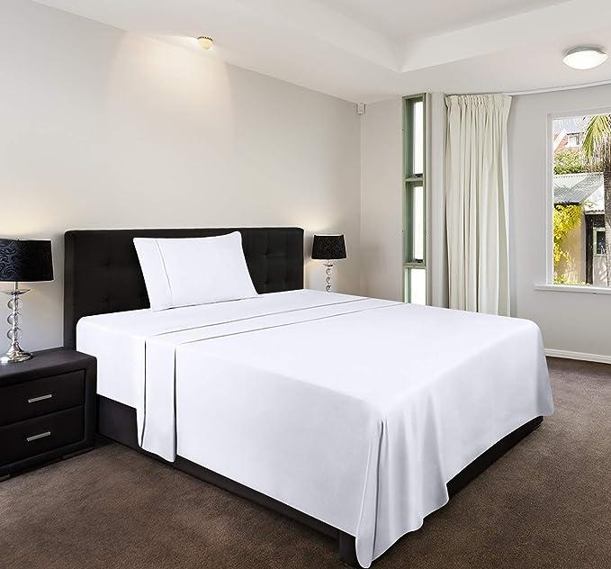 Utopia Bedding Drap Plat Microfibre Bross/ée Blanc, Simple - 167 x 243 cm