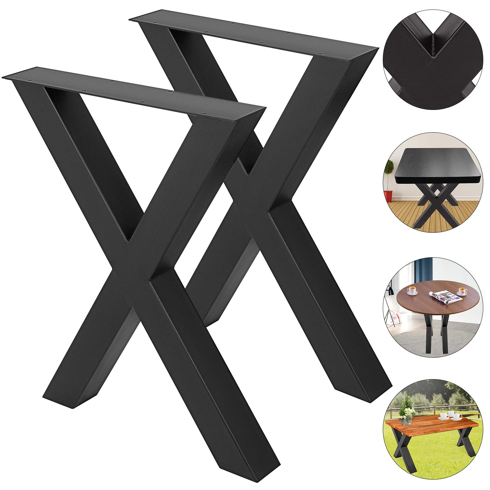 VEVOR Set of 2 Steel Table Legs 28''x 24'' Dining Table Legs 28''Height 24''Wide Office Table Legs Computer Desk Legs Steel Bench Legs Country Style Table Legs DIY Furniture Legs (X-Shape/B)